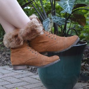 Brown Suede Lace Up Furry Booties